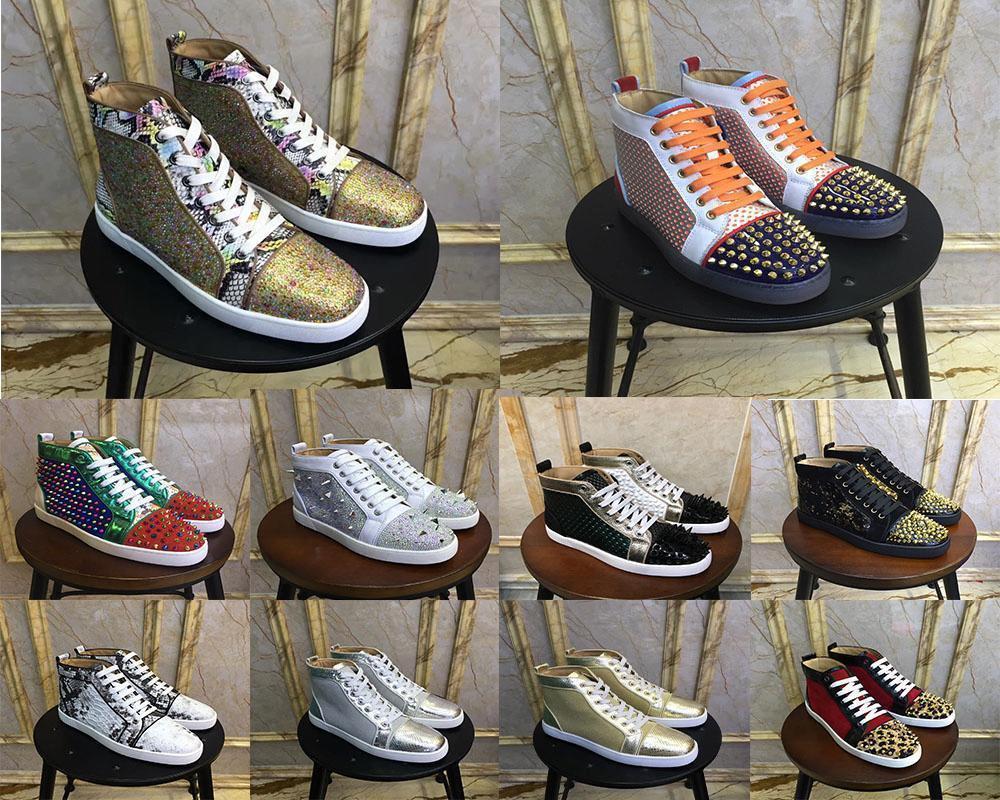 2019 alta top designer de luxo vermelho bottoms sapatos homens Unisex sapatos Marca Studded Spikes Flats amantes do partido de couro genuíno Sneaker5453 #