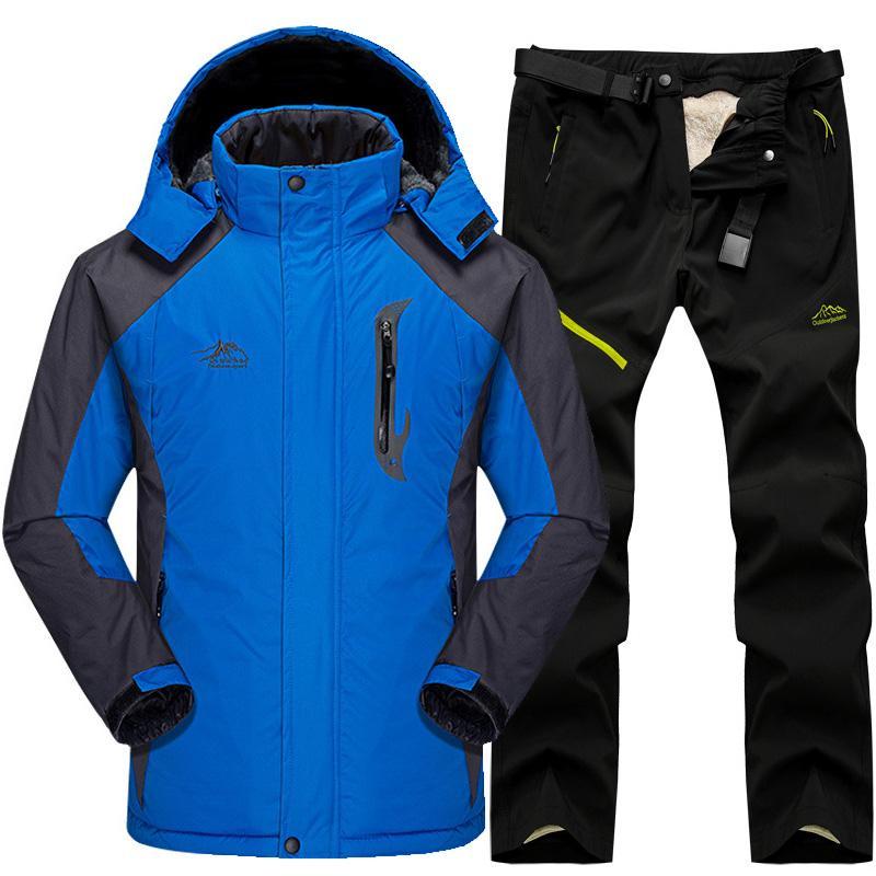 스키 자켓 스키 정장 남자 눈 설정 야외 열 방수 방풍 스노우 보드와 바지 야영 하이킹