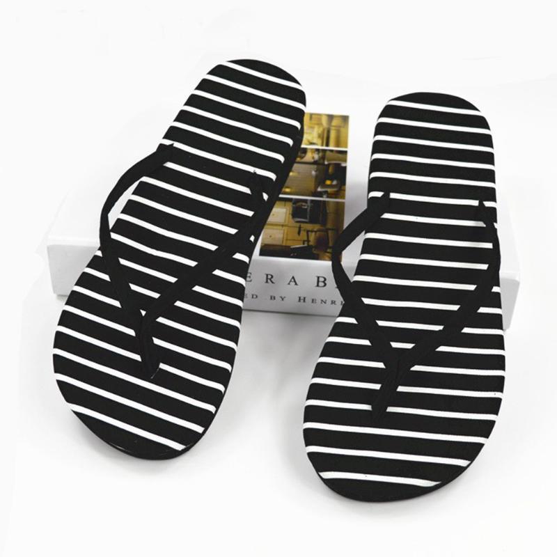 Praia EVA Mulheres Chinelos Moda Casual Plano Sandals Feminino Outdoor Calçado Flip Flops Verão Black + White