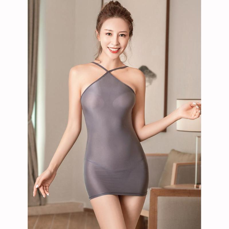 Olio lucida della cinghia di spaghetti Backless vestito trasparente sexy calda minifalda erotica Clubwear aderente vestiti puri Vestido Sundress