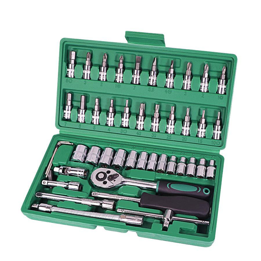 Ferramenta de reparo de automóveis 46pcs 1/4-polegada conjunto de reparação de carro ferramenta de reparo de torque chave de torque kit de ferramentas de reparação automática