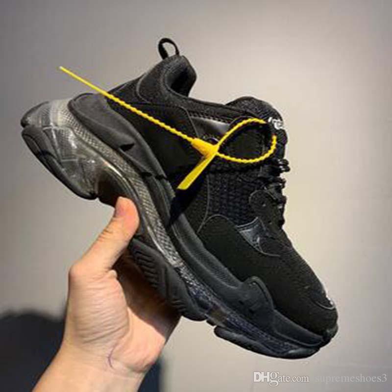 2020 Мужчины Женщины моды повседневная обувь кроссовки Подушка Тройной S 3,0 Комбинация азота Подошва Кристалл Bottom Повседневная обувь G1