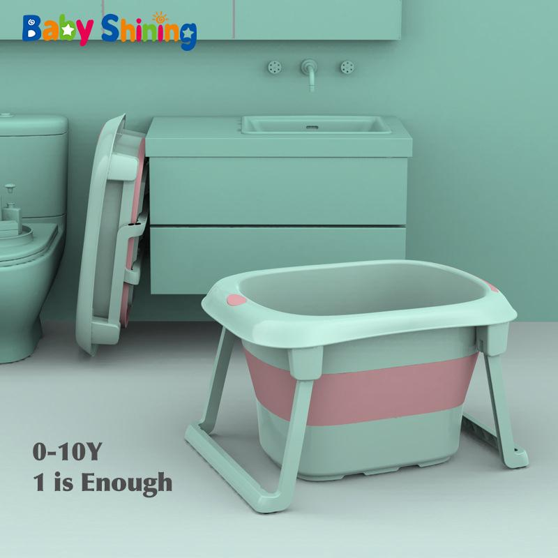 Baby-glänzende 0-10Y Kinder Folding Badewanne Höhe 44.5cm Baby-Badesitz Isolierung Nicht Beleg einfache Lagerung Kid Widen Bad Bucket CX200718