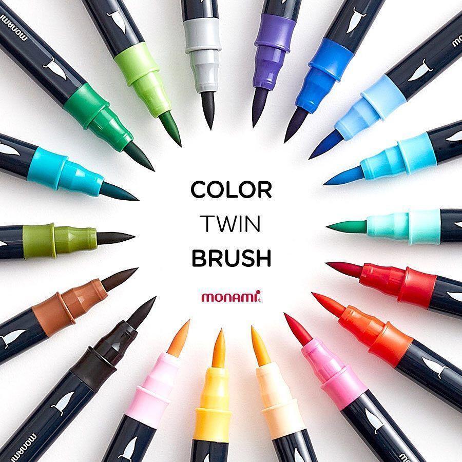 Monami colori Doppia spazzola dell'acquerello della penna della spazzola doppia testa Art Markers schizzo pittura pennello Lettering 04038 Y200709