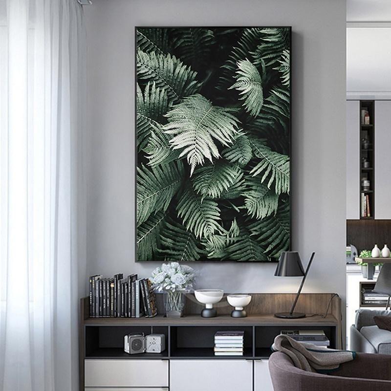Salon Ev Dekorasyonu için Minimalist Wall Art Resim Boyama İskandinav Botanik Poster Baskılar İskandinav Yeşil Yaprak Pembe Gül Çiçek Yağı