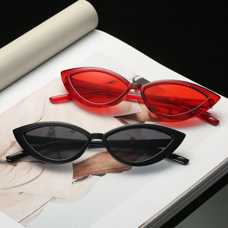 New Vintage schwarze Katzenaugen-Sonnenbrille Frauen Mode-Marken-Entwerfer Spiegel Kleiner Rahmen Cateye-Sonnenbrillen Weibliche Shades UV400