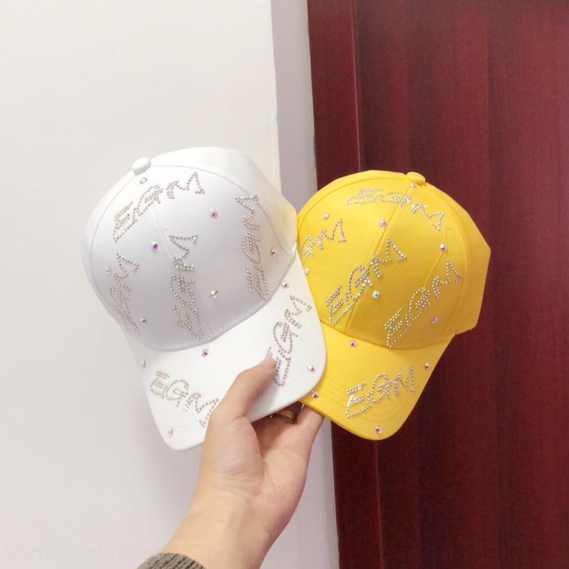 Tiktok stesso tipo EGM lettera moda femminile coreano baseball berretto da baseball con strass semplice tappo strass tutto-fiammifero cappello casuale del sole