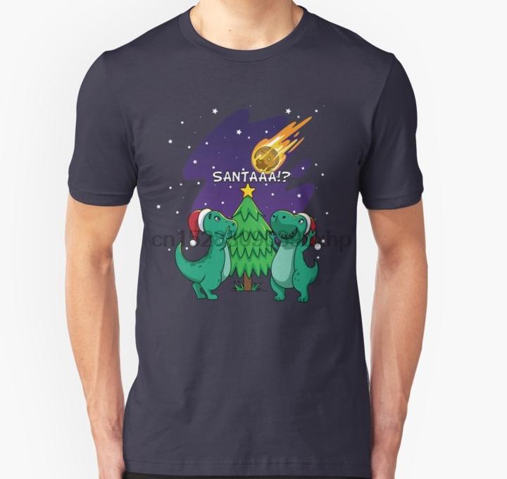 Les hommes tshirt mignon Meteor Père Noël T Rex T-shirt de Noël Dinosuar T-shirt femme tees T-shirt haut