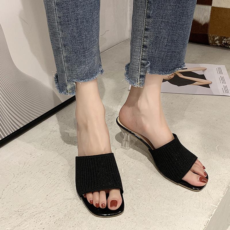 Talons respirante Knit claires Chaussons femmes talon transparent sandales d'été en tissu extensible talon haut Chaussons Sandales Femmes 2020