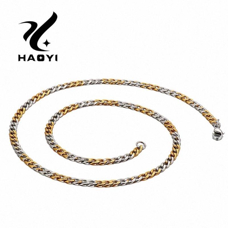 HAOYI Cruz de Oro plata de la manera del acero inoxidable del collar del encanto de tendencia de los hombres de la joyería del partido accesorios baratos al por mayor de GSCI #