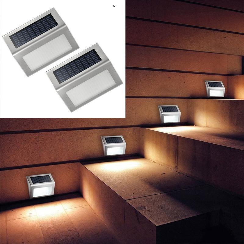Solar de la lámpara de la escalera de acero inoxidable Solar LED Paso luz ilumina la lámpara de pared escaleras de cubierta de Patio al aire libre del accesorio Pasillo Jardín