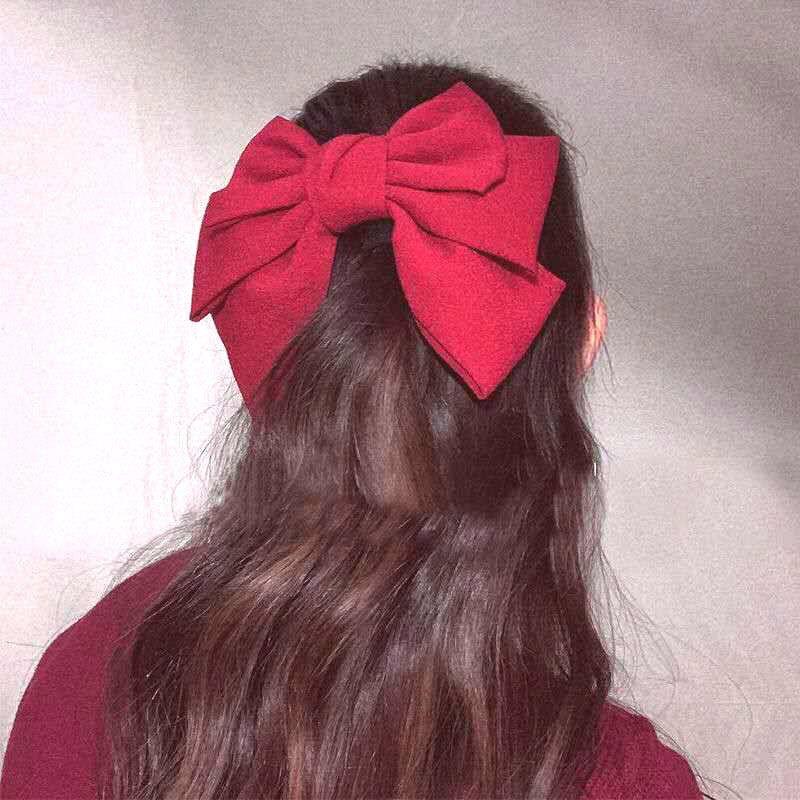 Mulheres bonitos vermelhos Bobby Pin Duck Tip Clip Primeira Primavera Cabelo Anel Big Bow Princesa Cabelo Clipes Pony Tails Titular