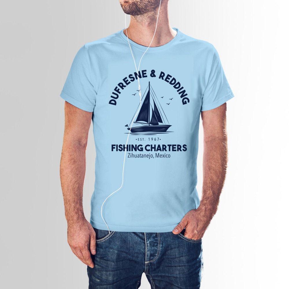 Dufresne Redding Pesca Inspirado por Shawshank Redemption T-shirt Vintage 2020 Letter Collar Design Os homens Rodada Shirts Top T