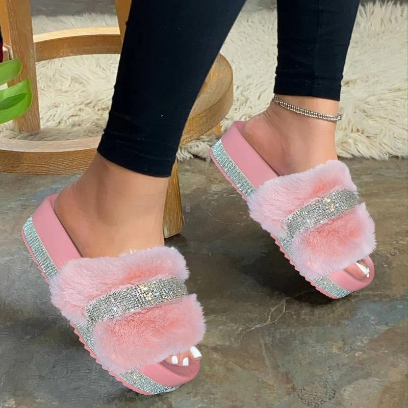 2020 Женская мода Тапочки Furry Fur Слайды Главная Цвет меха Вьетнамки Пушистый плюша Дом обувь Женский зимний теплые тапочки