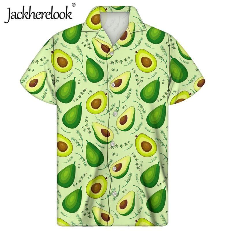 Jackherelook manga curta camisas havaianas engraçado abacate impressão Verão Harajuku por Homens Praia Roupa férias Tropical cobre a camisa