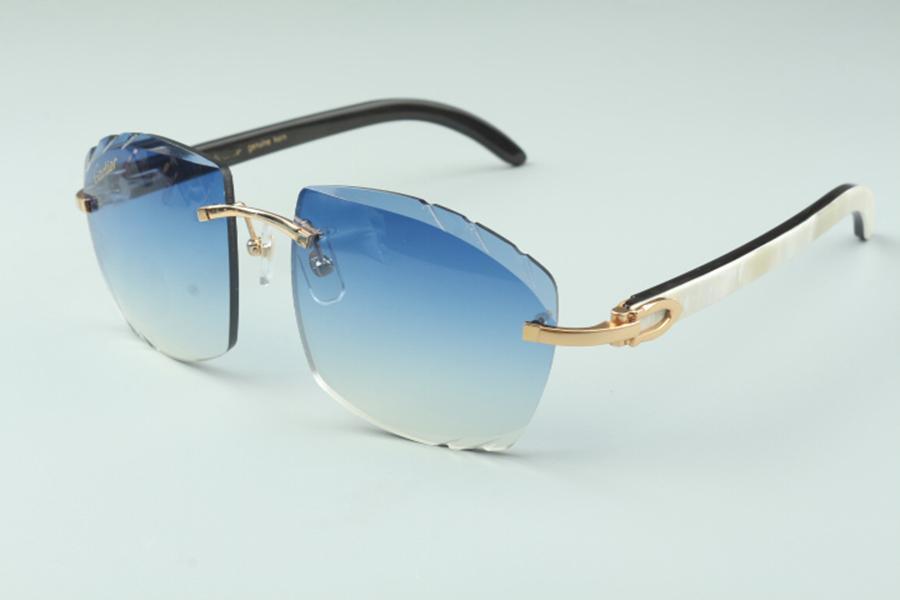 lentille les plus récentes de coupe haut de gamme vente directe lunettes de soleil 4189706-A bâtons de corne de buffle naturel mixtes blancs et noirs, taille: 58-18-140 mm