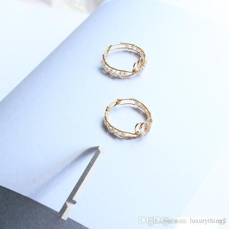 Hot New Products Natural Freshwater Pearls Double Love Hand Wrap Ring Copper Wire Heart Slender Tail Ring