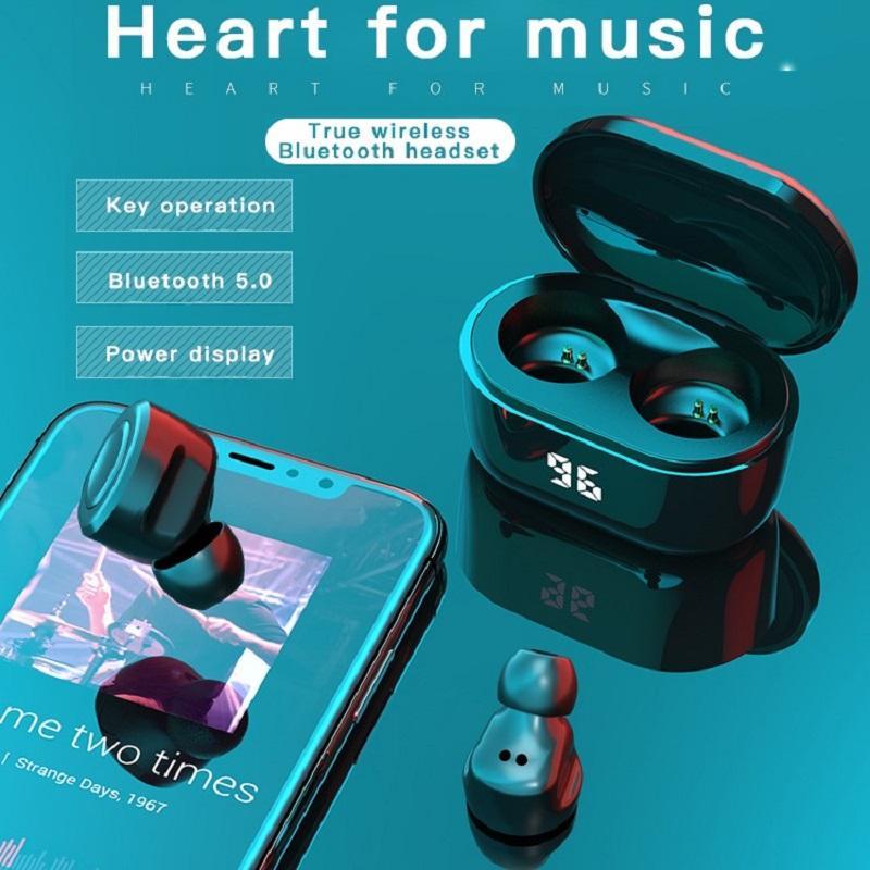 Беспроводные наушники 5.0 TWS Bluetooth Наушники Автоматическое подключение Clear Touch Беспроводные наушники с зарядным чехол Светодиодные телефоны