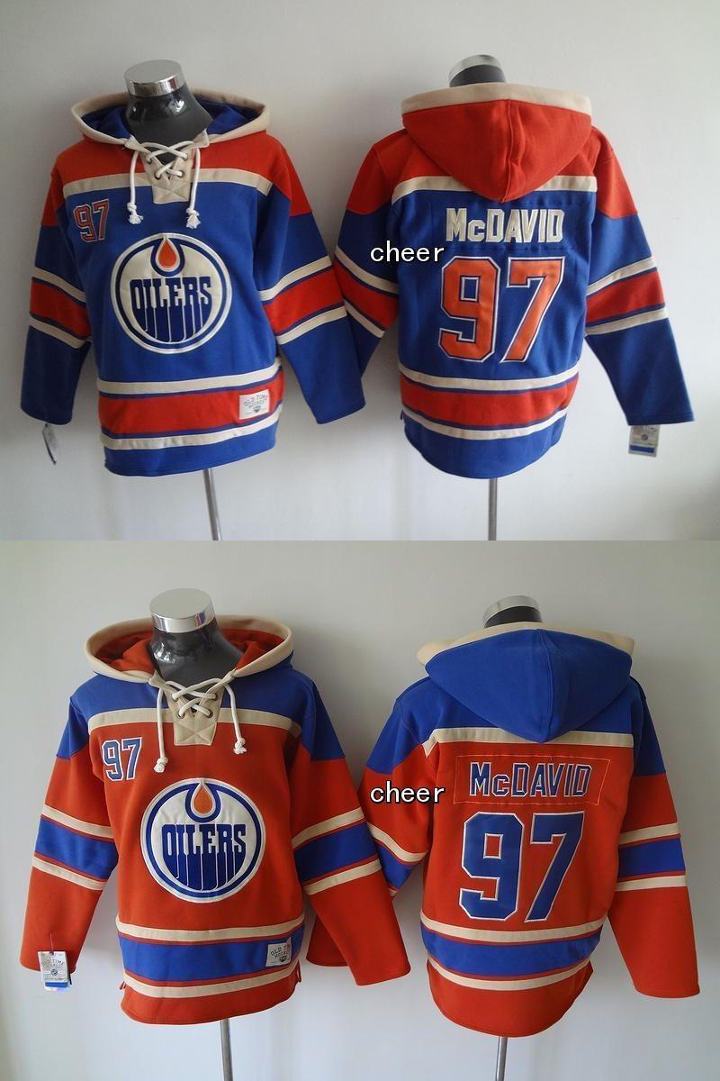2015 más nuevos hombres al por mayor Edmonton Oilers # 97 McDavid azul / naranja con capucha jerseys de hockey sudaderas con capucha de los jerseys con capucha, envío libre