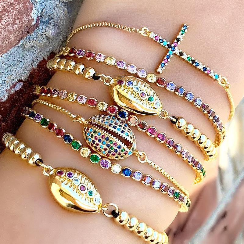 New Gold Diamond Shell Cross Bracelet Zircon Puxar Ajustável Mulheres Braceletes Charme Moda Jóias Will e Sandy Presente