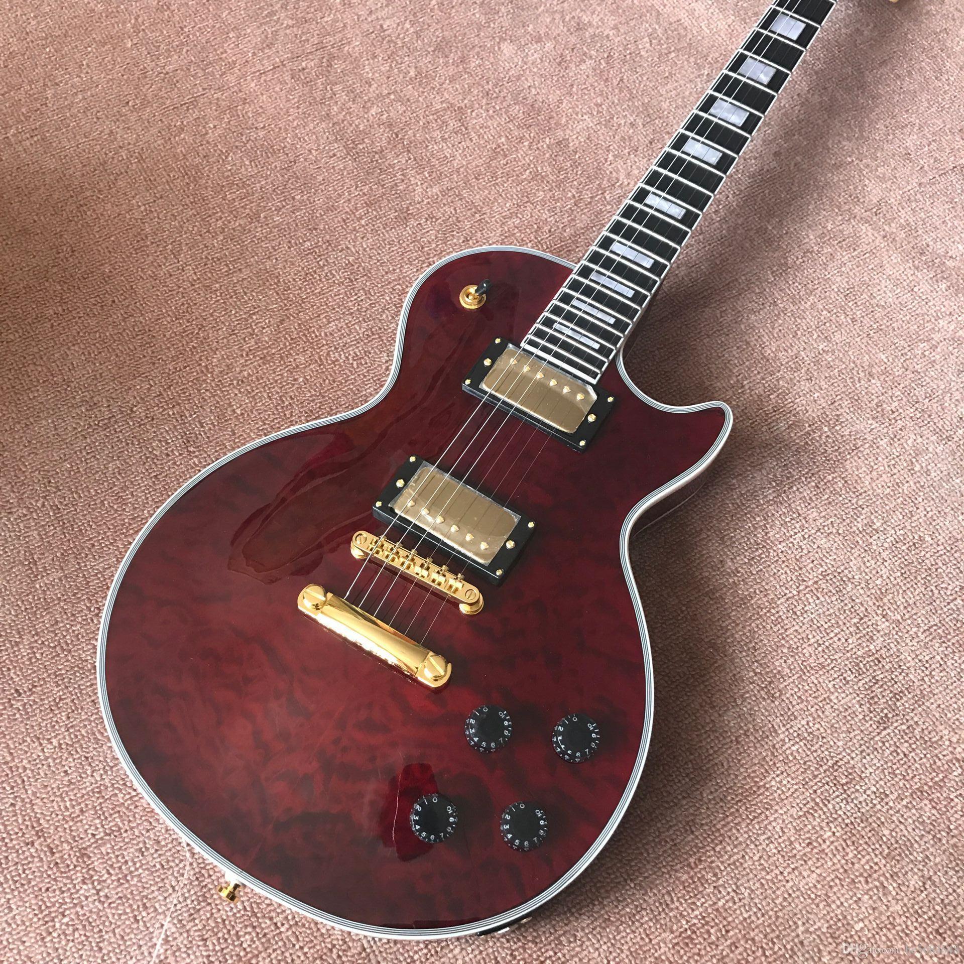 Yeni ürünler kahverengi elektro gitar ve tonpro, abanoz klavye, akçaağaç üst ve arka,