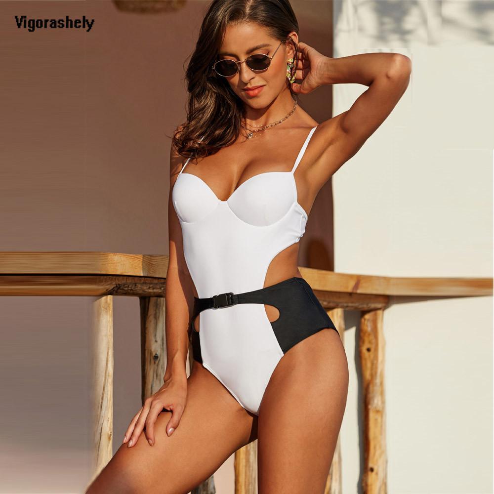 Vigoshely 2020 Sexy Push Up Swimwear Women Retro One Piece Swimsuit Female High Waist Belt Monokini Hollowed Bathing Suit Swim MX200613