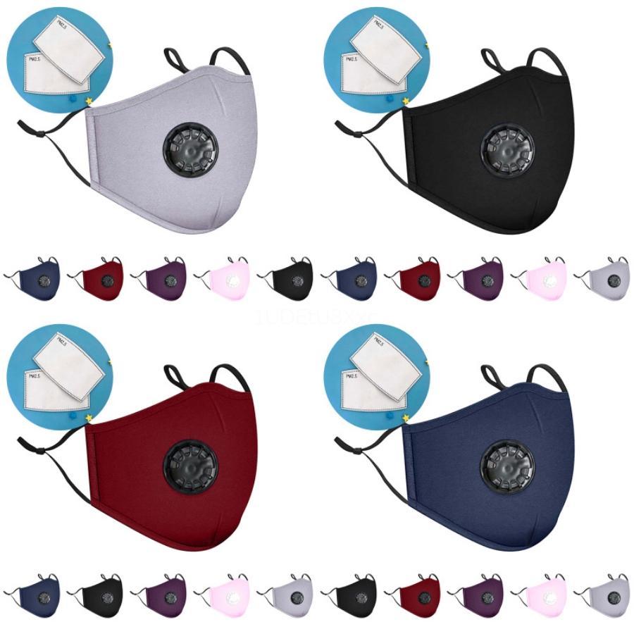 Máscara Facial Filtro PM2.5 Poluição do Ar Anti Poeira e nariz Proteção reutilizável com a respiração Válvula Máscara Facial Designer Máscaras impressas rapidamente De # 977