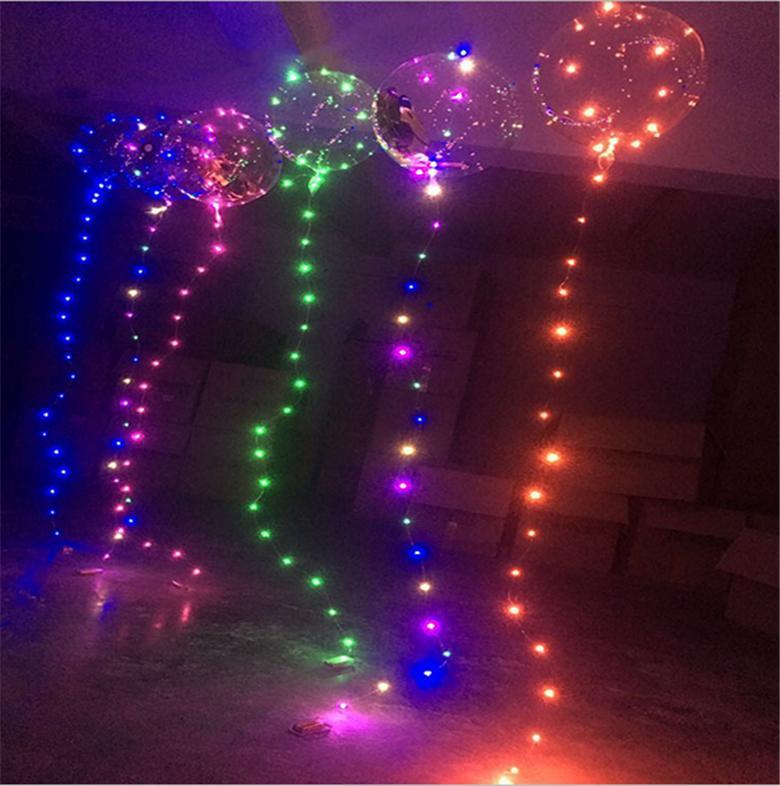 balões LED Night Light Up Toys balão clara 3M Cordas Luzes pisca-pisca bolas transparentes onda Iluminação balões de hélio partido Decoração