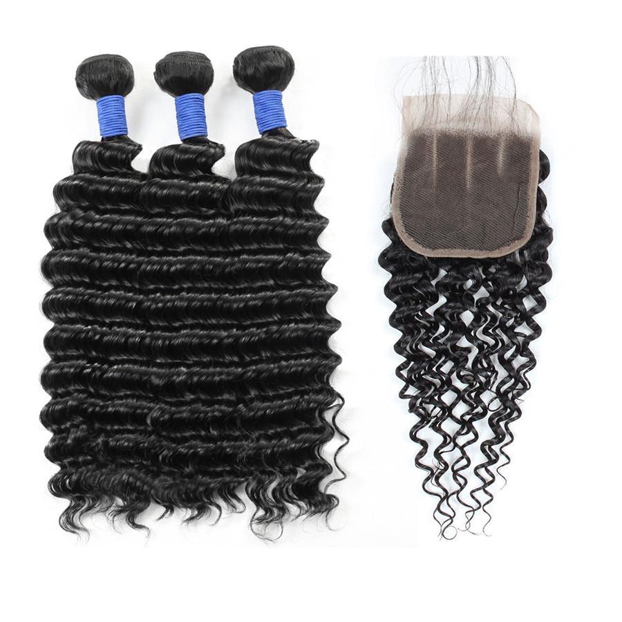 10A الشعر البرازيلي موجة عميقة حزم الإنسان مع إغلاق بالجملة بيرو الشعر البشري ينسج 3 حزم مع إغلاق الشعر ملحقات