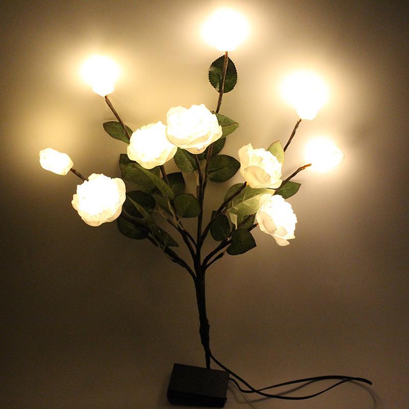 Fleurs Décoration avec 10L Led Lumière à piles Led EVA artificielle Rose fleur Spary mariage Garden Party de Noël