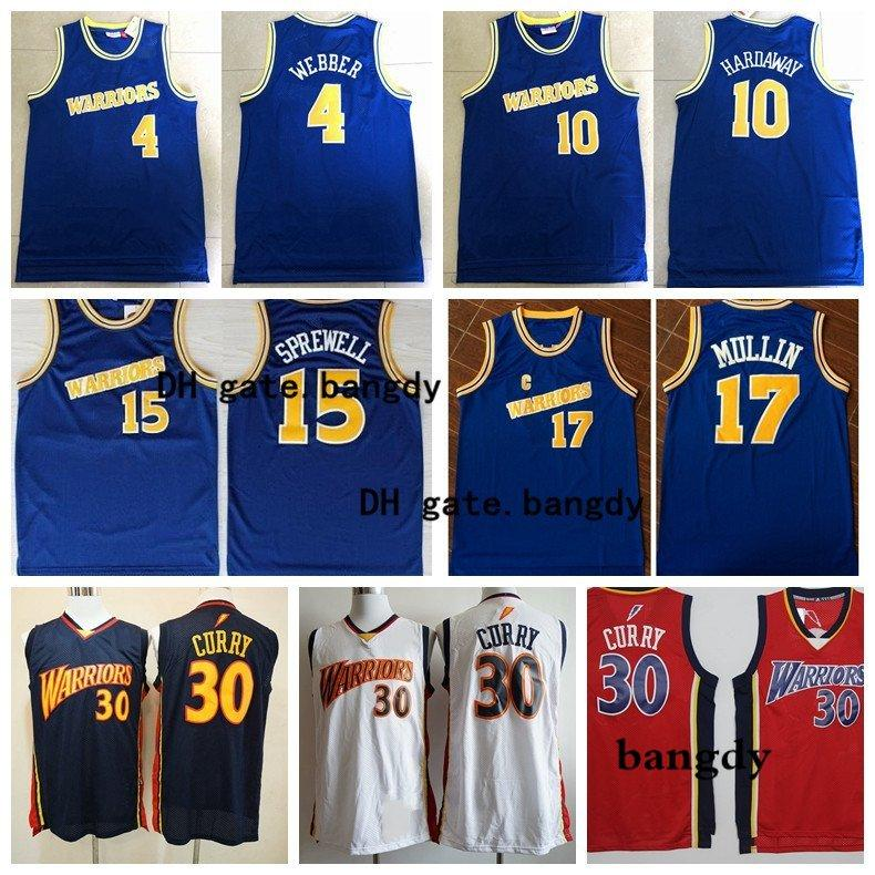 Los hombres de oroEstadoguerrerosNBA 23 Mitch Richmond 4 Webber 10 Hardaway 17 Mullin Mitchell & Ness Real 1990-1991 jerseys del baloncesto