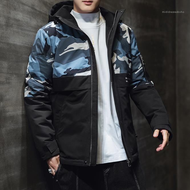 Мода Камуфляж Мульти карманный Щитовые вскользь с капюшоном Джемпер Открытый Outwear Mens конструктора куртки пальто осень зима