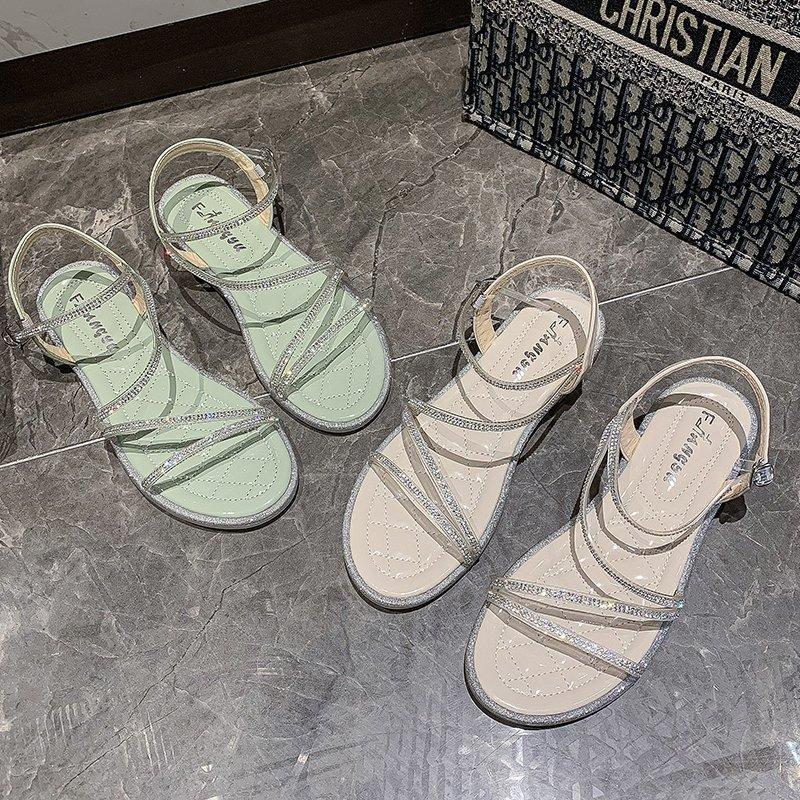 Femmes Sandales 2020 été femme sexy Confortable Non Diapo Sandales talon plat Fée de fond Chaussures de plein air Plage plat