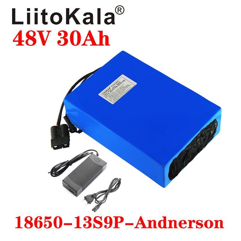 LiitoKala 48V 30Ah 18650 13S9P Электрический велосипед батареи 48V 30Ah 1000W литиевая батарея Встроенный 20А BMS электрические велосипеды Транспортных