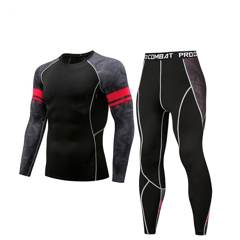 Erkekler Sıkıştırma tozluk Set Koşu Bodybulding dışarı Giyim Gym Tişört Erkekler spor uzun kollu Tayt Tişört işi ayarlamak