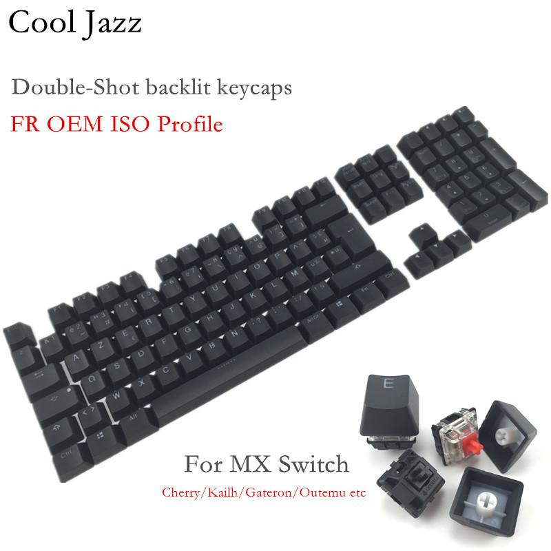 Cool Jazz 108 Keys Thick PBT Double-shot backlit Keycap FR ISO layout OEM Profile For MX Mechanical gaming Keyboard T200524
