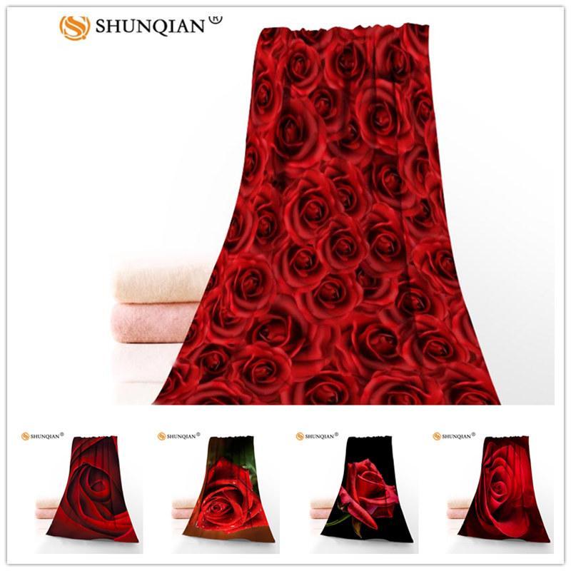 Personalizzato romantiche rose rosse 35x75cm Viso Asciugamani Facecloth fibra di bambù washcloth rapida asciugatura asciugamano Sport
