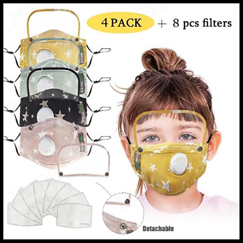 Çocuklar Yüz 2 Filtreler Vana Çıkarılabilir Gözler Shield ile Anti-Dust PM2.5 Moda Baskılı Çocuk Parti Maskesi Yeniden Yıkanabilir Yüz Kapak Maske