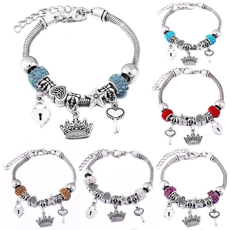 Joyas de la corona del encanto del brazalete de la hebilla de langosta cadena de la serpiente con cuentas brazaletes para las mujeres de verano romántico regalo de la manera pulsera Accesorios