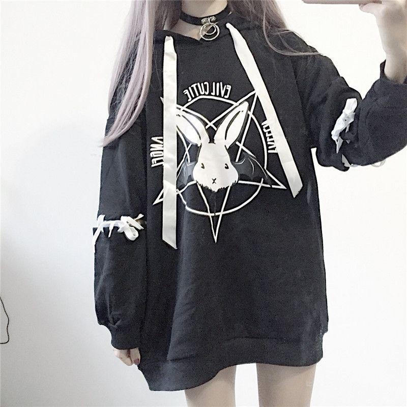 Paris Fille Harajuku Imprimer Lace Up Femmes Polaires Sweats à capuche gothique punk Oversize velours avec capuche Sweat-shirt Streetwear CX200716