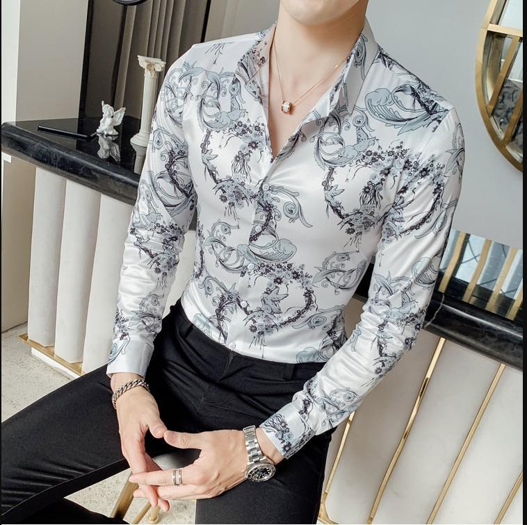 Camisa de la flor de otoño Camisa para hombre del club de manga larga Slim Fit fantasía Camisas Casual Camisa Masculina Social Tops