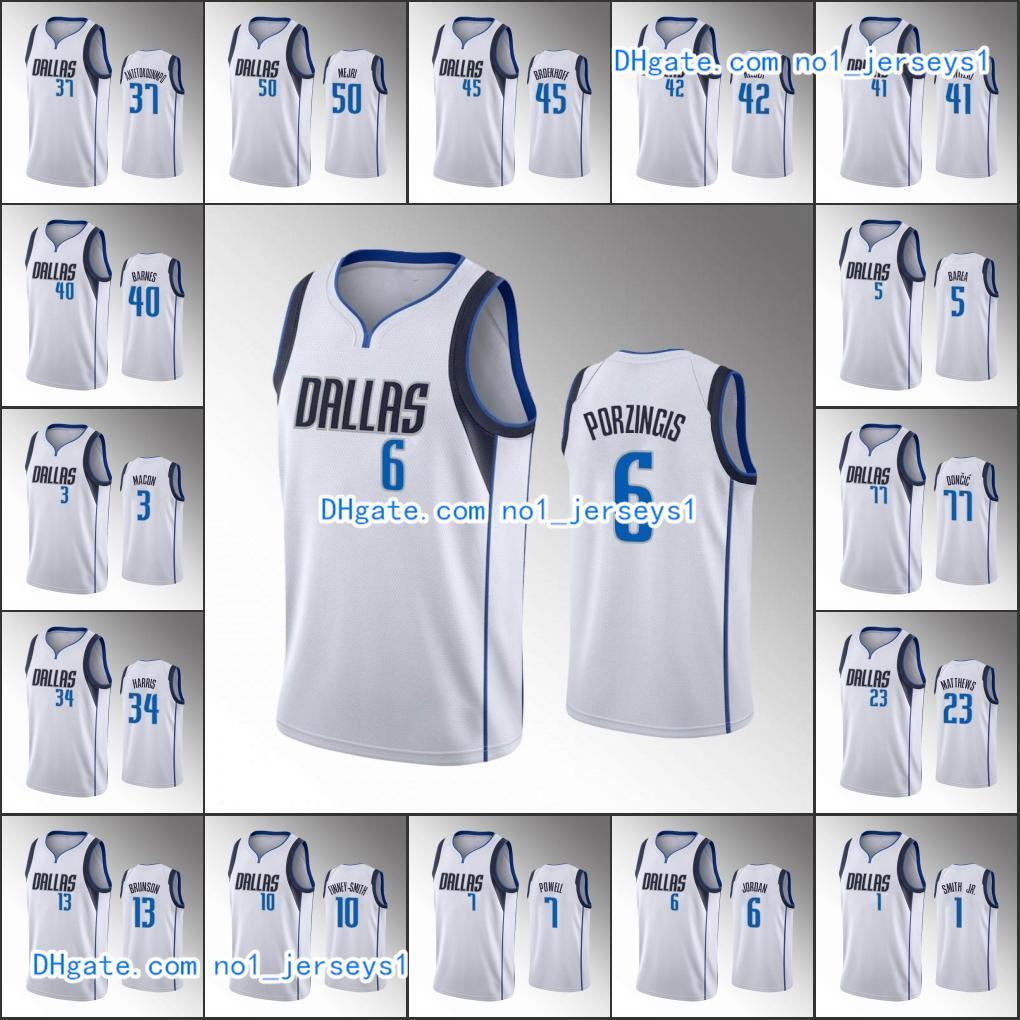 DallasMavericksMen Luka Doncic Dirk Nowitzki Kristaps Delon Wright Porzingis AssociationNBA White Custom Jersey