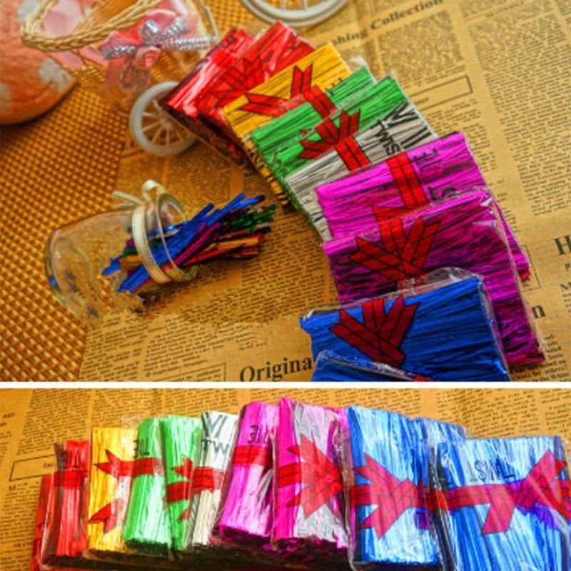 800pcs / Paquet fil métallique twist Ties pour violoncelle Candy Bag en acier de cuisson Emballage Ligature Lollipop Dessert étanchéité Twist Tie