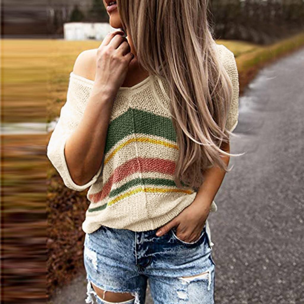 Autunno Inverno Maglione Donne spalle maglione con scollo a V Pullover Blouse Color Block Knit impunture Warm Hollow Maglioni # g30