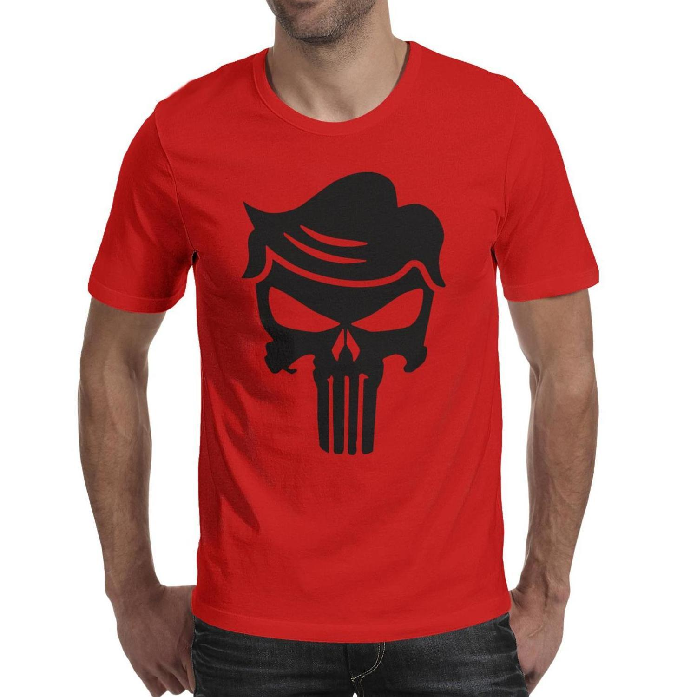 Mens Fashion trunfo punidor logotipo preto shirt do pescoço t shirt gráficos super-herói Trump Punisher da bandeira dos EUA de mármore branco de pedra Gay ouro