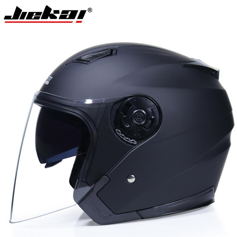 JIEKAI Cascos eléctrico del casco de ciclista cara abierta con doble objetivo viseras mujeres de los hombres de verano Scooter Moto Moto Casco de la bici