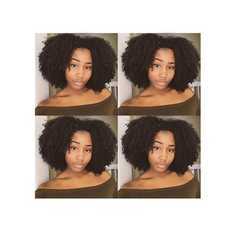 hot new style women's lndian Hair African American afro bob kinky curly full wig simulation human hair curly black wig with bang
