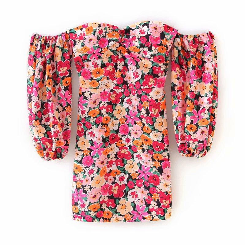 2020 nuevas mujeres del viento vacaciones impresión floral delgado del mini vestido de femme fuera vestidos manga de soplo parte posterior del hombro vestidos elástica DS3504