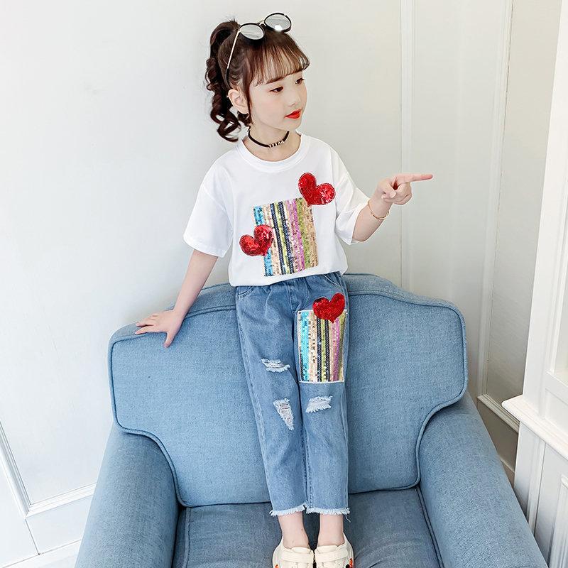Kinderbekleidung Sets Frühlingskleinkind-Mädchen Pailletten Herz-Druck Kurzarm T-Shirt Tops + zerrissenes Loch Hosen-Kind-Kleidung Set