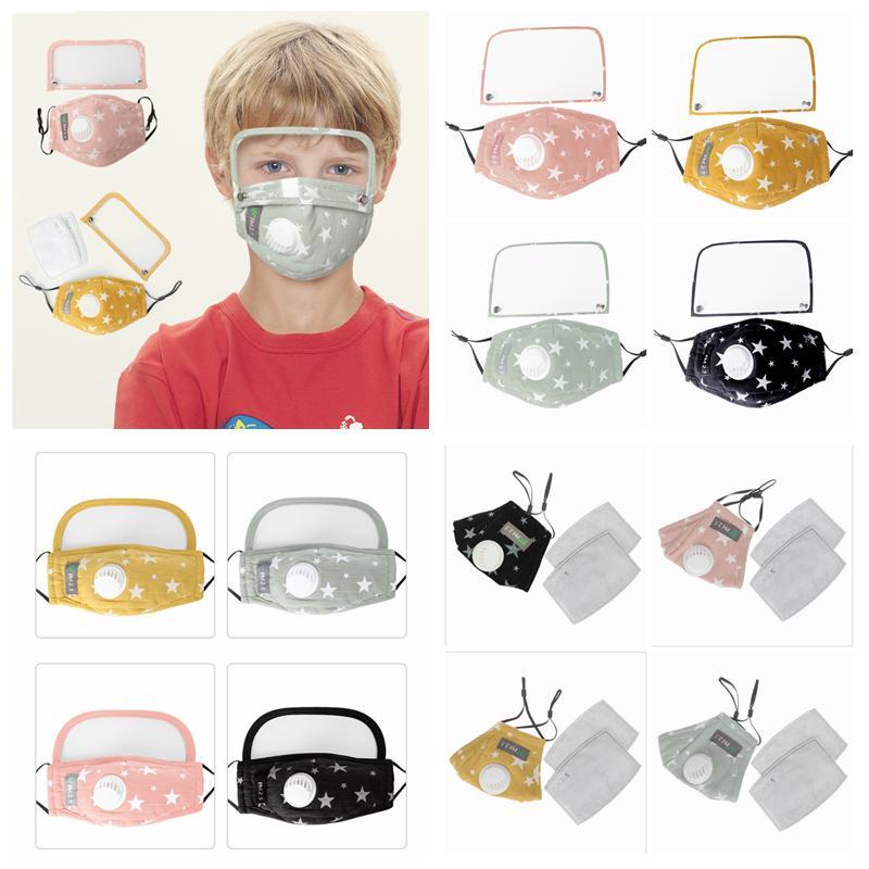 Kinder stellen staub- waschbar Baumwolle atmungsaktiv Ventil Maske Radfahren wiederverwendbare Schutzmaske Maske mit Augenschild YYA211